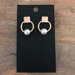Jewelry - Circle Earrings with Faux Pearl  💕 3 for $15 💕
